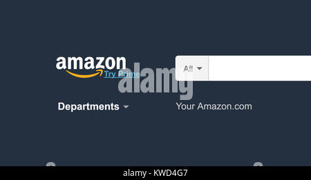 KIEV, UKRAINE - January 02, 2018: Amazon website homepage on laptop. Amazon.com logo visible. Start page. An American - Stock Photo