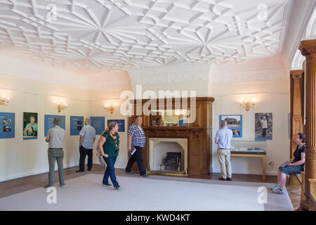 Drawing room in Bletchley Park Mansion, Bletchley Park, Sherwood Drive, Bletchley, Milton Keynes, Buckinghamshire, - Stock Photo