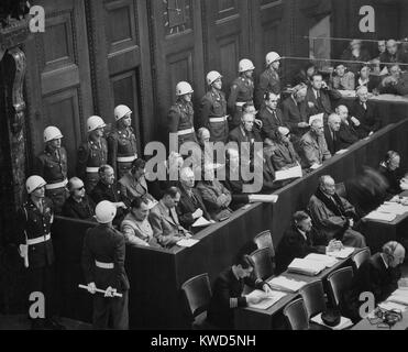 Former Nazi Germany's military and political leaders on trial at Nuremberg. They were prosecuted for waging aggressive - Stock Photo