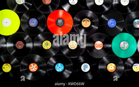 A wall of old vinyl records - Stock Photo