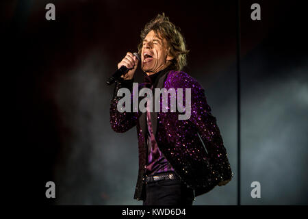 The legendary English rock band The Rolling Stones performs a live concert at Orange Stage at Roskilde Festival - Stock Photo