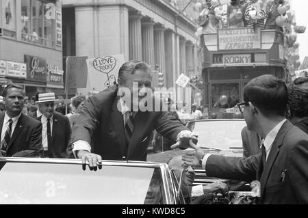 Nelson Rockefeller campaigning on Wall Street, New York City, July 11, 1968. He was seeking the Republican presidential - Stock Photo
