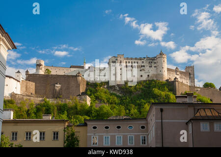 The Hohensalzburg Fortress which sits atop of the Festungsberg in Salzburg, Austria. - Stock Photo