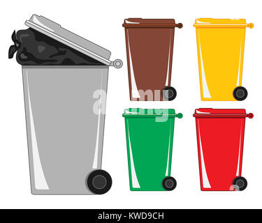 an illustration of a gray refuse bin with a bag of rubbish showing and various recycling bins on a white background - Stock Photo