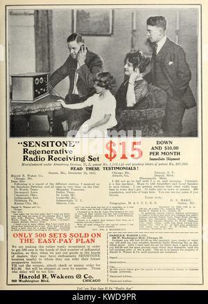 1922 advertisement in the magazine, RADIO AGE, for a 'Sensatone' Regenerative Radio Receiving Set. It offered a - Stock Photo