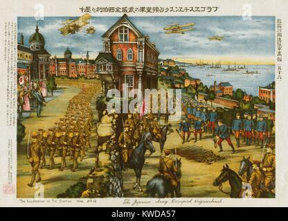 Japanese Army entering Blagoveshchensk (Vragaeschensk), a Siberian Russian city located at the confluence of the - Stock Photo