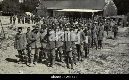 World War 1. Somme Offensive. German prisoners captured by the British during the Somme Offensive, at Meaulte, near - Stock Photo