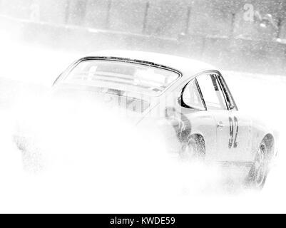Porsche 911, in rain Spa 6hrs classic Black and white, no 92 - Stock Photo