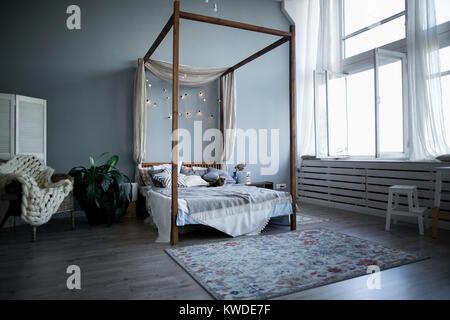 Modern interior design of children's room. Shot of a stylish modern room. - Stock Photo