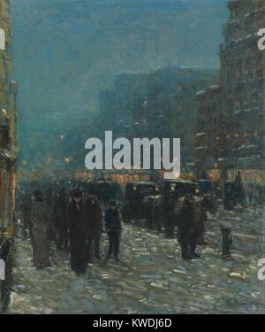 BROADWAY AND 42ND STREET, by Childe Hassam, 1902, American painting, oil on canvas. Winter evening in Longacre Square - Stock Photo