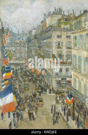 JULY FOURTEENTH, RUE DAUNOU, by Childe Hassam, 1910, American painting, oil on canvas. Hassam described this as - Stock Photo