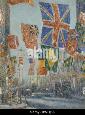 AVENUE OF THE ALLIES, GREAT BRITAIN, by Childe Hassam, 1918, American painting, oil on canvas. Manhattan's Fifth - Stock Photo