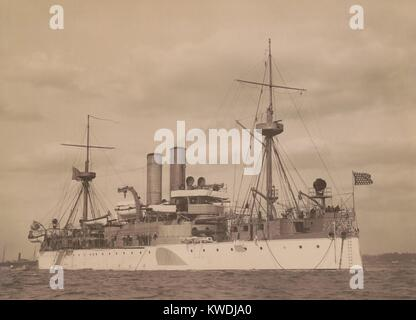 USS MAINE at anchor in a US harbor, c. 1896. Commissioned in 1895 she was a 2nd-class battleship (BSLOC_2017_10 - Stock Photo