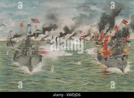 US Asiatic Squadron delivers the last broadside to the Spanish Pacific fleet, May 1, 1898. The Spanish fleet, was - Stock Photo
