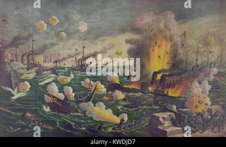 The Battle of Manila Bay, was the first fighting of the Spanish American war. May 1, 1898. Passing back and forth - Stock Photo