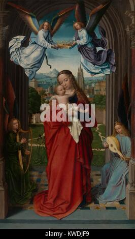 VIRGIN AND CHILD WITH FOUR ANGELS, by Gerard David, 1510-15, Northern Renaissance oil painting. The figures in an - Stock Photo