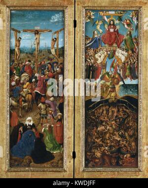 THE CRUCIFIXION, THE LAST JUDGMENT, by Jan van Eyck, 1440-41, Northern Renaissance painting. In this masterpiece - Stock Photo