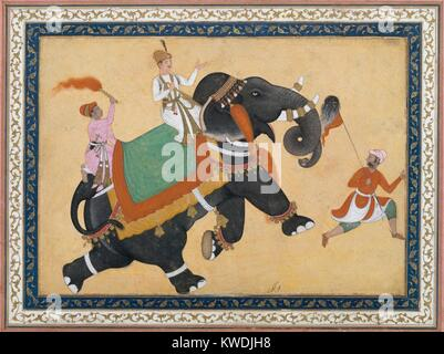 PRINCE RIDING AN ELEPHANT, by Khem Karan, 16th-17th c., Indian, Mughal watercolor painting. Elephants were prized - Stock Photo