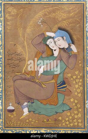 THE LOVERS, by Riza-yi Abbasi, 1630, Persian painting, opaque watercolor, ink, gold on paper. Miniature of lovers - Stock Photo