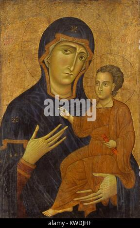 MADONNA AND CHILD, by Berlinghiero, 1230s, Italian Medieval, painting, oil on wood. Painted in the style of a Byzantine - Stock Photo