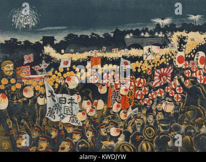 Japanese citizens and soldiers in a night parade celebrating victories against Russians, May 1904. The fighting - Stock Photo