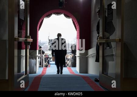 Back view of President-elect Donald Trump walking to his inaugural swearing-in ceremony. Jan. 19, 2017 (BSLOC_2017 - Stock Photo