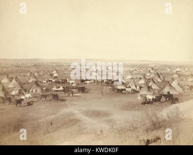 Hostile Indian camp of tipis, horses, and wagons on Pine Ridge Indian Reservation in Jan. 1891. They were considered - Stock Photo
