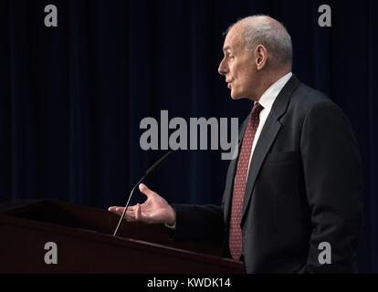 Sec. John F. Kelly speaking with senior leadership at Immigration and Customs Enforcement (ICE). March 22, 2017. - Stock Photo