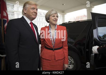 President Donald Trump welcomes British Prime Minister Theresa May to the White House, Jan. 27, 2017. Both were - Stock Photo