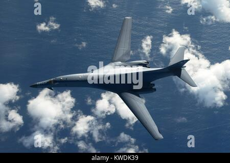 Overhead view of an US Air Force B-1B Lancer, a stealth, supersonic, heavy bomber. It is flying in a 10-hour mission - Stock Photo