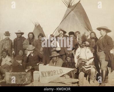 Euro-American and Lakota men at Pine Ridge Reservation on Jan. 16, 1891. They were attempting to re-establish peace - Stock Photo