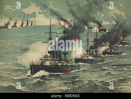 Battle of Port Arthur, Feb. 8-9, 1904 at the beginning of the Russo-Japanese War. Great Japanese Fleet bombarded - Stock Photo