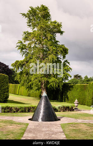 Antony House, Torpoint, Cornwall, UK. The Antony Cone, a water sculpture designed by William Pye. It echoes the - Stock Photo