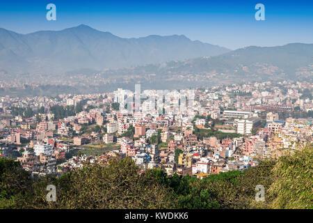Panorama view to Kathmandu city from Swayambhunath temple - Stock Photo