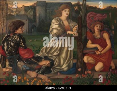 THE LOVE SONG, by Sir Edward Burne-Jones, 1868-77, British painting, oil on canvas. In center, a young woman kneels - Stock Photo