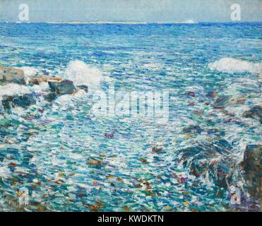 SURF, ISLES OF SHOALS, by Childe Hassam, 1913, American painting, oil on canvas. Impressionist vision of ocean waves - Stock Photo