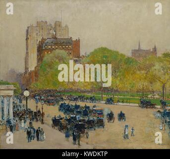 SPRING MORNING IN THE HEART OF THE CITY, by Childe Hassam, 1890-99, American painting, oil on canvas. Impressionist - Stock Photo