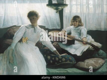 IDLE HOURS, by Julian Alden Weir, 1888, American painting, oil on canvas. The artist's wife, Anna, and their first - Stock Photo