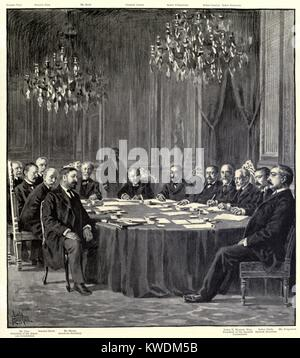 Peace commissioners after finalizing the Treaty of Paris, ending the Spanish American War. Dec. 10, 1898. It guaranteed - Stock Photo