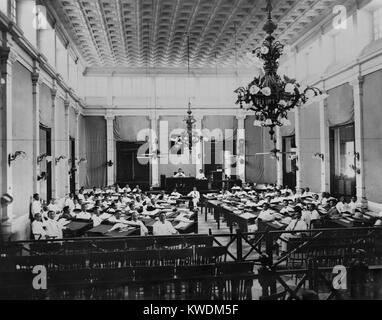 The Philippines Assembly in session, c. 1907. The popularly elected legislature was established by the US Congress - Stock Photo