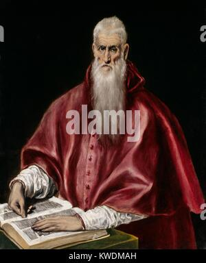 ST. JEROME AS SCHOLAR, by El Greco, 1610, Spanish Renaissance painting, oil on canvas. Jerome is shown in the red - Stock Photo