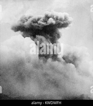 Mushroom smoke column of Mont Pelee, Martinique, a French territory in Caribbean in June 1902. The volcano began - Stock Photo