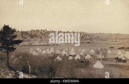 General Brooks Camp near Pine Ridge, S.D., Jan. 17, 1891. The view includes the camp of the 2nd US Infantry Regiment - Stock Photo