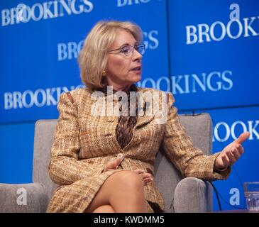 Sec. of Education, Betsy DeVos, speaking at the Brookings Institution, March 28, 2017. Sec. DeVos supported funding - Stock Photo