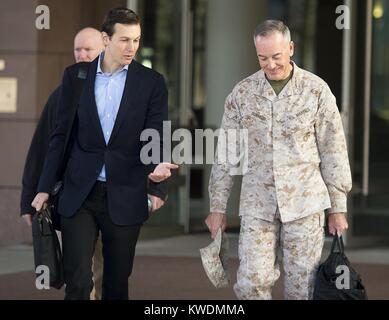 Marine Corps Gen. Joe Dunford, Chmn. Joint Chiefs of Staff, with Jared Kushner, April 3, 2017. Kushner, senior advisor - Stock Photo