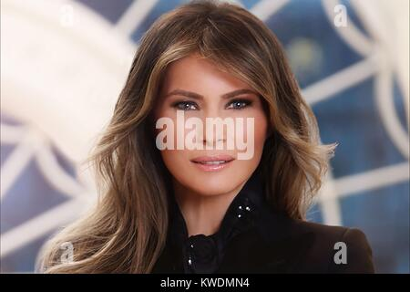 Official photo of First Lady Melania Trump, by Belgian photographer, Regine Mahaux. There is obvious digital manipulation - Stock Photo