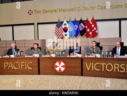 President Donald Trump at a military briefing by US and Republic of Korea military in South Korea. Nov. 7, 2017. - Stock Photo