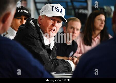 President Donald Trump in Corpus Christi, Texas, after Hurricane Harvey, Aug. 29, 2017. He received an update from - Stock Photo