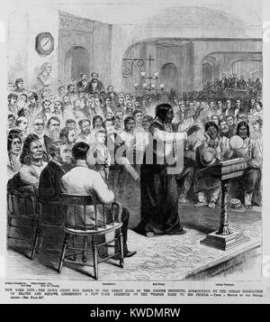 Chief Red Cloud, Oglala division of Lakota, Sioux, speaking at Cooper Union, NYC, in 1870. Surrounded by the Indian - Stock Photo
