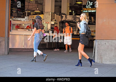People walking past Grand Central Market on S Broadway in downtown Los Angeles, LA California, USA  KATHY DEWITT - Stock Photo